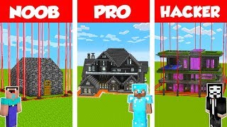 Minecraft PRO vs NOOB vs HACKER: SAFEST BEDROCK HOUSE CHALLENGE in Minecraft / Animation