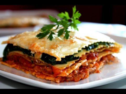 Lasaña de boloñesa y espinacas (sin lactosa) / Bolognese and Spinach Lasagne