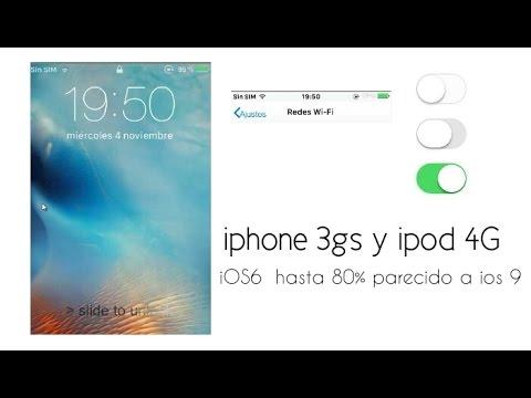 Como tener iOS 6 hasta un 80% mas parecido a iOS 9    Ipod touch 4   iphone 3gs