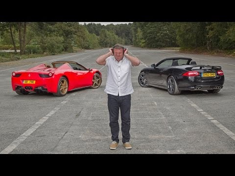Ferrari 458 Spider vs Jaguar XKR-S: which sounds best?
