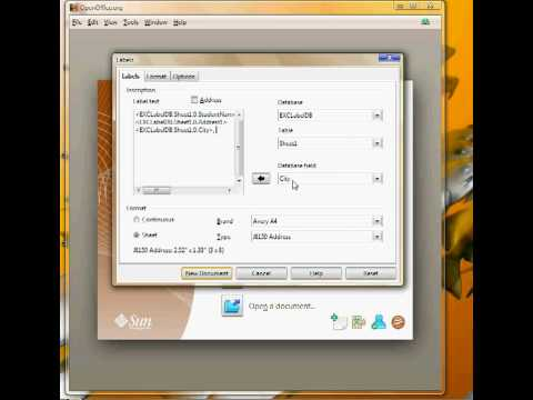 OpenOffice:  Label Tutorial