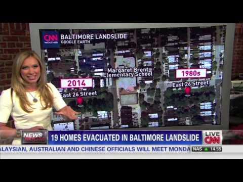 CNN Newsroom Shocking Video of Baltimore Landslide Captured on Video.
