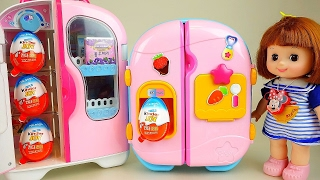 Baby Doll refrigerator and Kinder Joy Surprise eggs toys play