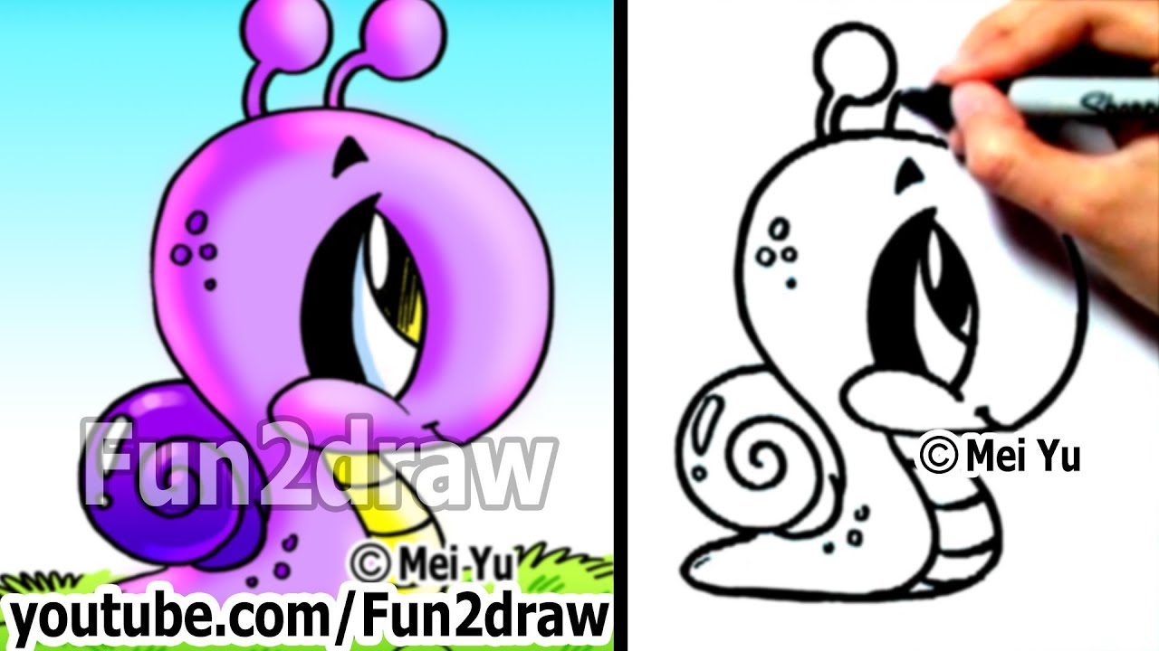 How to draw easy stuff how to draw a snail drawing for What are fun things to draw