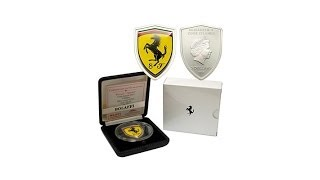 2013 Proof LE 2,013 $5 Silver Enameled FerrariBadge Coin