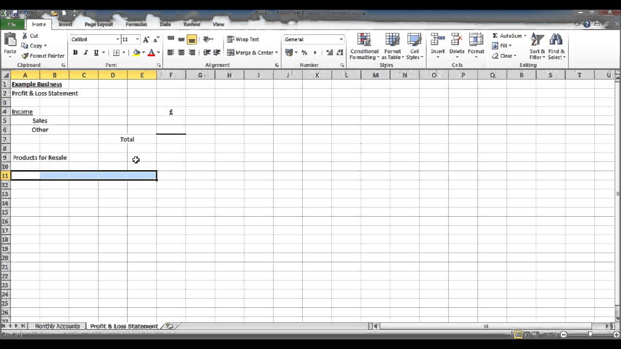 How to create a bookkeeping spreadsheet using microsoft excel part 4