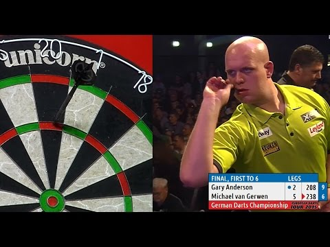 INCREDIBLE DARTS! Michael van Gerwen v Gary Anderson, 2015 German Darts Championship (HD)