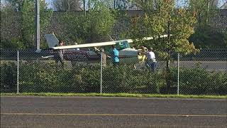 Photos of small plane making emergency landing on Highway 14 in Vancouver