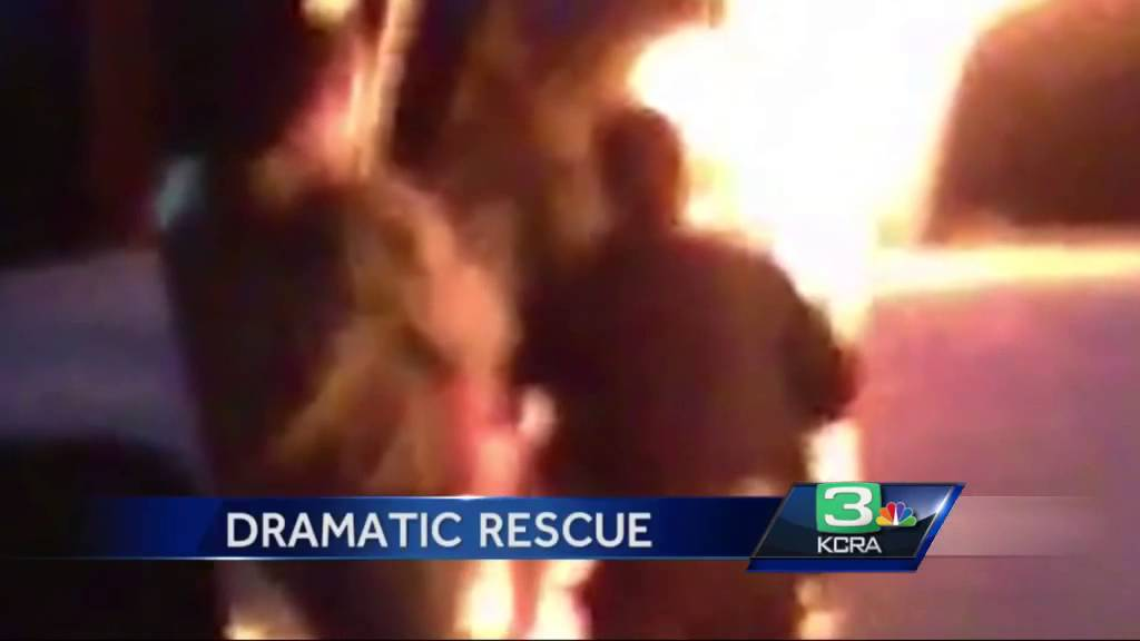 Quick action saves man from burning truck on railroad tracks