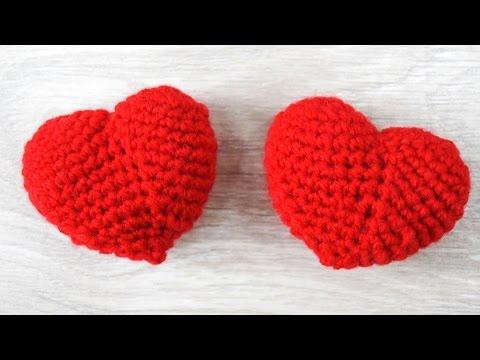 Как связать крючком объемные сердечки из