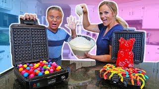 Real Food vs Gummy Food Gross Gummy Waffles Challenge