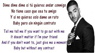 Maluma - Sin contrato Lyrics English and Spanish - Translation & Meaning - Without Contract
