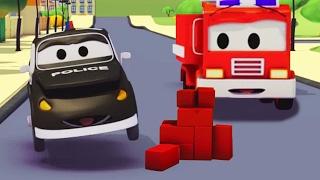Tuần tra : xe cứu hỏa cùng với xe cảnh sát và Bí ẩn của những viên gạch trên đường ở thành phố xe