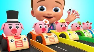 Little Baby Learning Nursery Rhymes Pig Finger Family Song Pig Cars Parking for Kids Toddlers Edu
