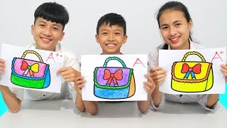 KuMin Kids Go To School Learn Coloring Handbag Ribbons | Classroom Funny Nursery Rhymes