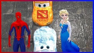 Spiderman and Princess Elsa Disney Cars Colors Lightning McQueen Superhero Movie Video for Kids