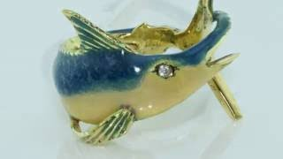 Shaped ring fish Marlin handmade 18kt yellow gold and enamel