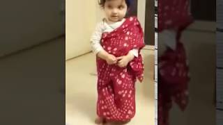 Cute and sweet indian twin babies (Sisters) having Ramp Walk in Saree