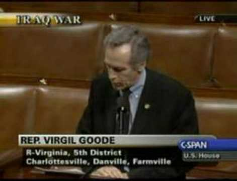 Virgil Goode On The Surge Resolution And Muslims