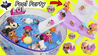 LOL Surprise Dolls Lil Sisters at Pool Slide with Pets