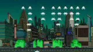Fry battles space invaders while listening to RUSH