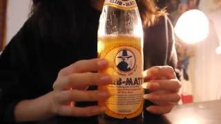 ASMR Club Mate Bottle, long natural nude nails