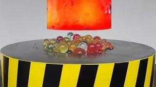 EXPERIMENT Glowing 1000 degree HYDRAULIC PRESS 100 TON vs ORBEEZ