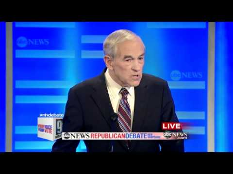 Ron Paul on calling Newt Gingrich a Chickenhawk ABC NH Republican Debate 1/7/12