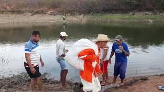 Seu mané pede ajuda para atravessa o rio.