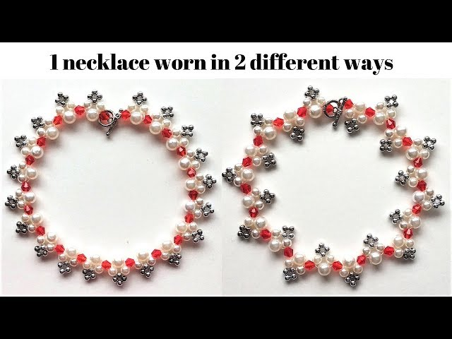 Necklace Tutorial. 1 necklace worn in 2 different ways.Jewelry making tutorial