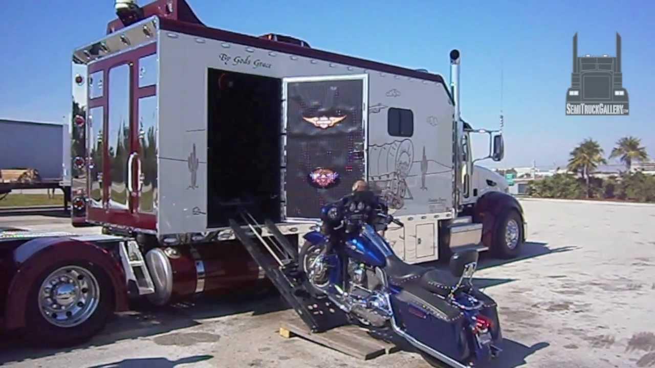Custom Peterbilt With Its Own Harley Davidson Garage