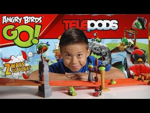 ANGRY BIRDS GO! Pig Rock Raceway - TELEPODS Unboxing. Review & Demo!