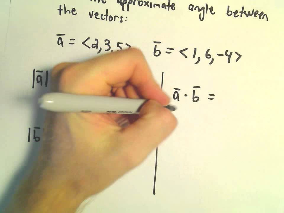 Angle between two vectors formula