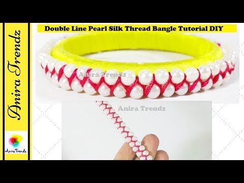 How to make double line pearl silk thread bangle | DIY tutorial