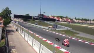 Randy Mamola and guest crashes Moto GP Catalunya 2013