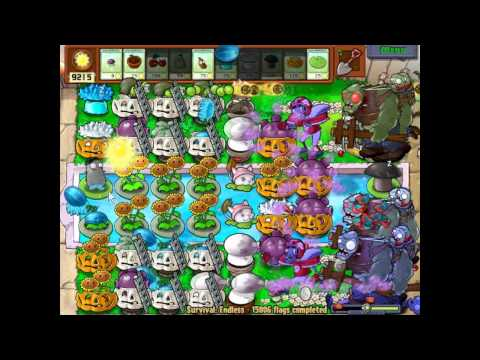 Plants vs zombies 15006 - 15008 flags Survival endless Cobless Setup
