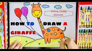 CÁCH VẼ CON HƯƠU CAO CỔ   HOW TO DRAW A GIRAFFE   Funny Lovely 5