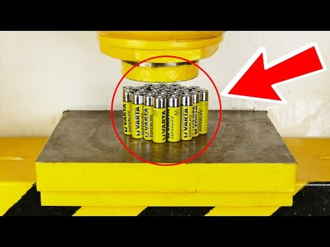 I SHOULD'VE NEVER DONE THAT !! - CRUSH BATTERY WITH HYDRAULIC PRESS - THE SMASHER SHOW
