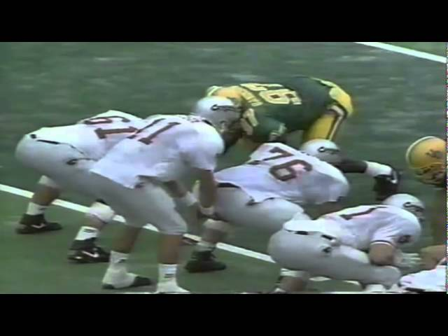 Oregon DE Jeff Cummins sacks WSU QB Drew Bledsoe on 4th down 9-07-1991