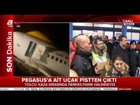 Pegasus uçağı Trabzon'da pistten çıktı