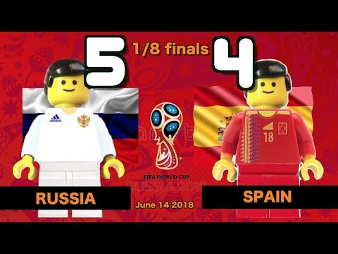 🔥 Spain vs Russia 4-5 (1-1) World Cup 2018 1/8 finals (01/07/2018) All Goals Lego Football