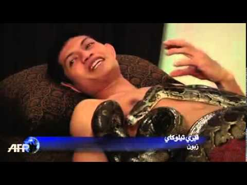 Snake body massage in Indonesia
