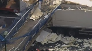 Raw: Pedestrian Bridge Collapse in UK