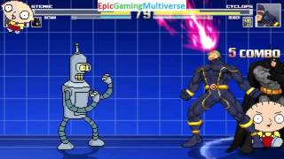 Stewie Griffin And Batman VS Cyclops And Bender The Robot In A MUGEN Match / Battle / Fight