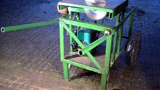 Home made saw bench with petrol engine