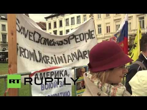 "Belgium: Anti-Kiev protesters tell the EU to ""stop investing in war"""