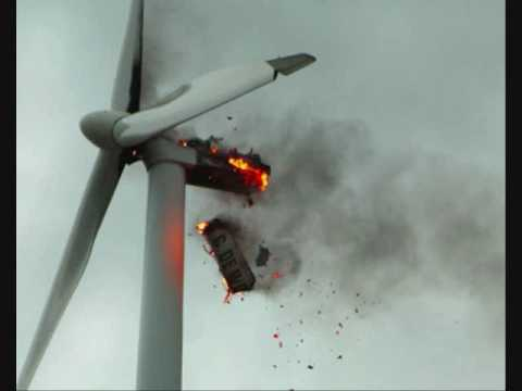 UFO crash hits wind turbine - YouTube