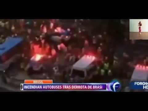 Disturbios Caos en Brasil tras la Historica Derrota Brasil vs Alemania  1-7 Copa Mundial 2014