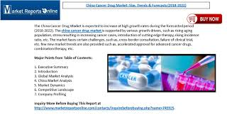 Cancer Drug Market Size, Trends & China Forecasts 2022 - MarketReportsOnline