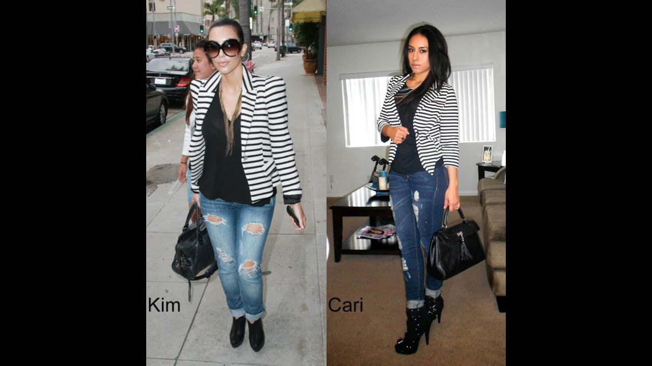 Striped Blazer (Kim Kardashian Inspired Outfit)
